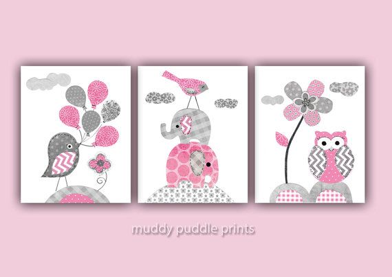Pink and Grey Nursery decor, Nursery art, Nursery prints, Pink, Grey ...