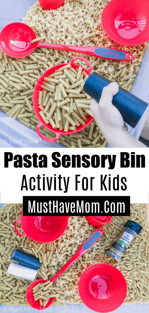 This pasta sensory bin activity is perfect for little ones who love to pretend p…