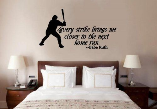 Baseball Babe Ruth Quote Vinyl Decal Wall Art Words Sticker Lettering Sports Decor 30X16 Enchantingly Elegant