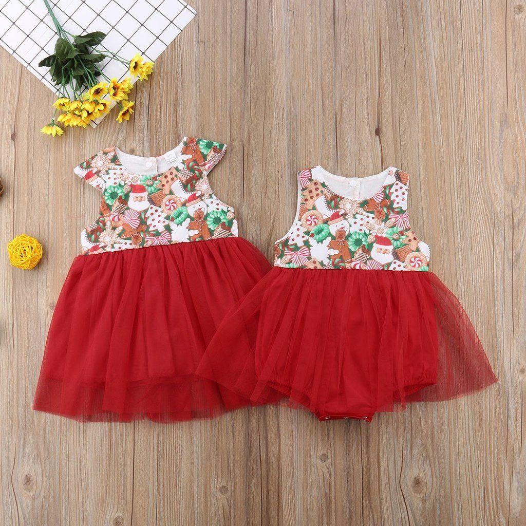 251f6e88c Big Sis/Lil Sis Matching Sleeveless Tulle Romper Christmas Dress ...