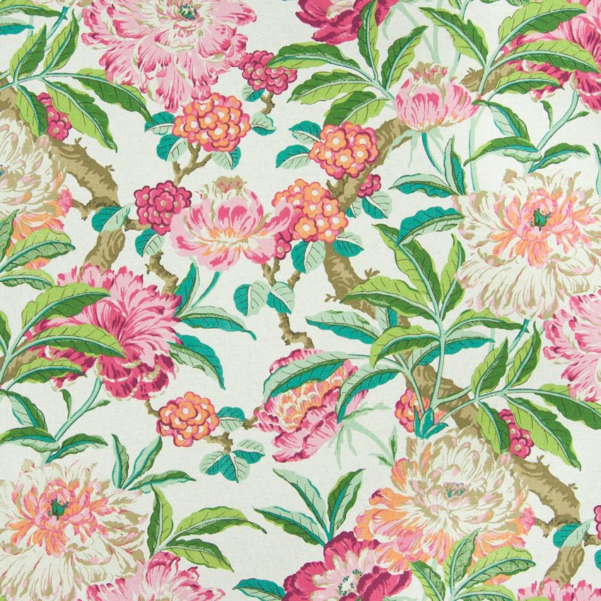 Pink Blush Green And Pink Tropical Print Upholstery Fabric Dena Home