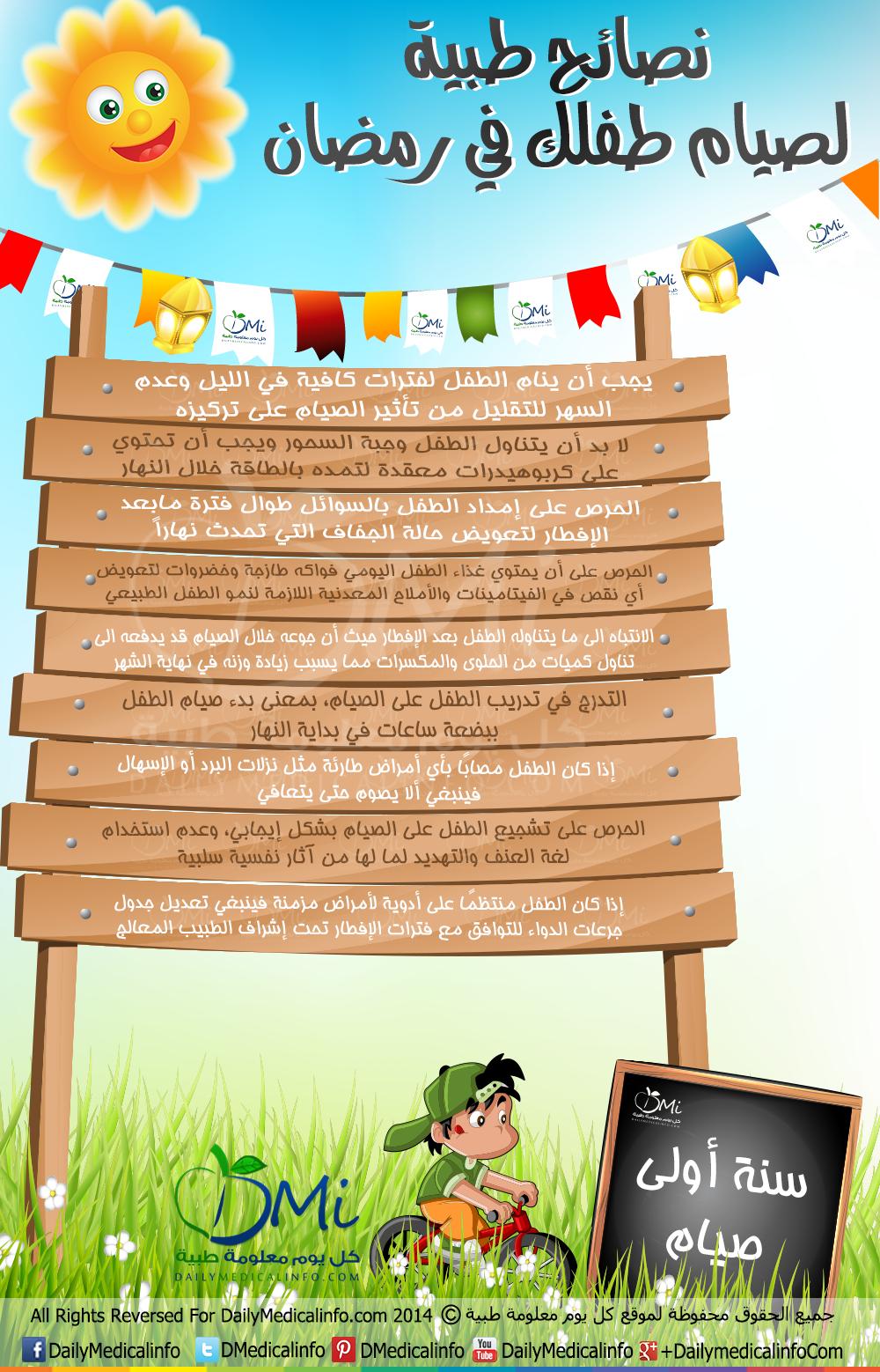 انفوجرافيك نصائح طبية لصيام طفلك في رمضان انفوجرافيك طبية كل يوم معلومة طبية Infographic Health Ramadan Decorations Ramadan