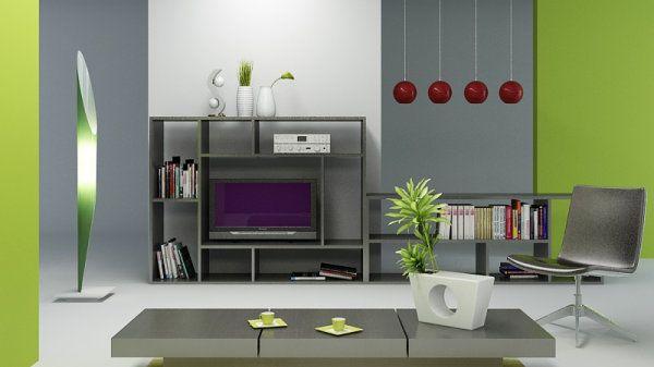 Otras Combinaciones Con Verde Manzana Combinaciones De Colores Del Dormitorio Colores De Casas Interiores Verde Y Gris