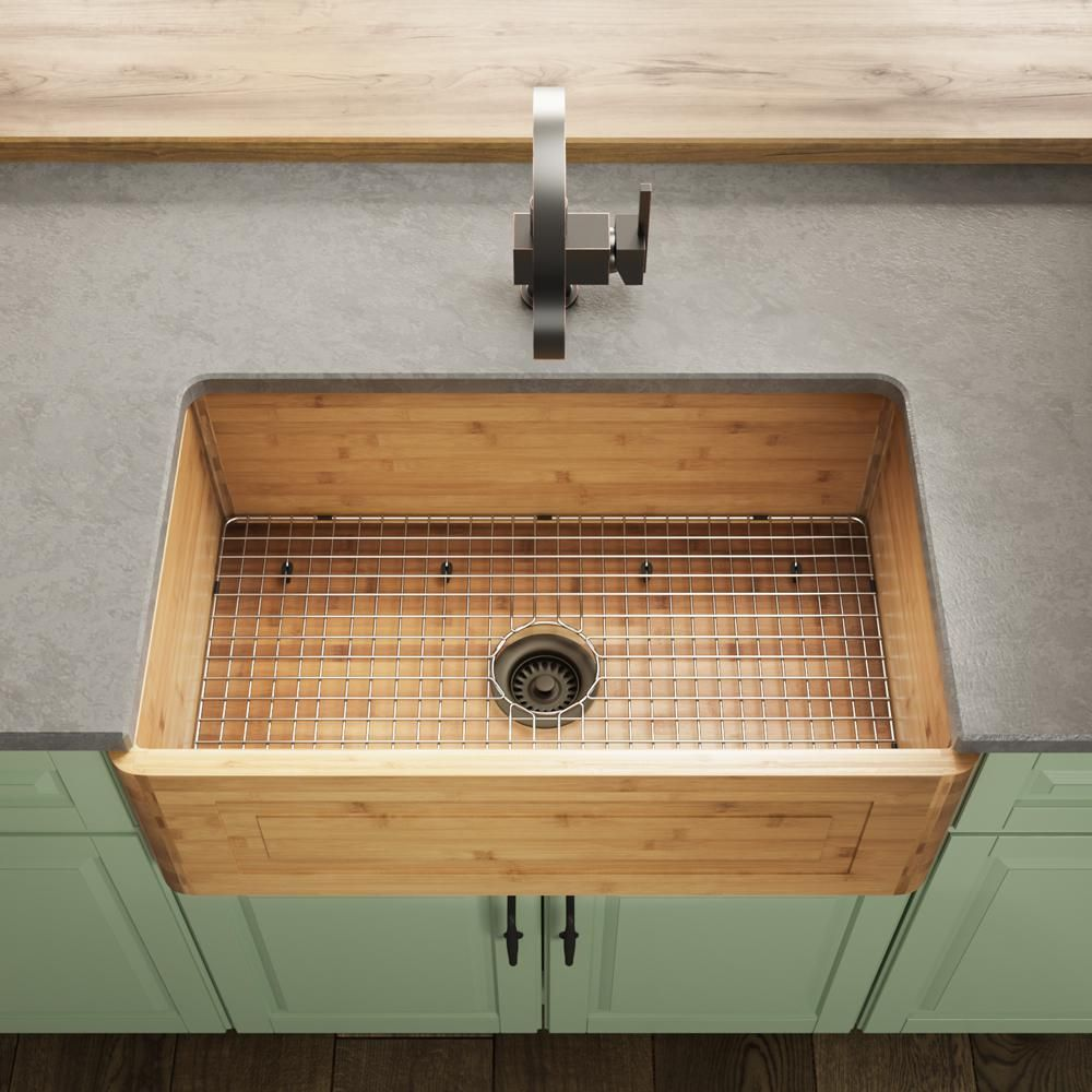 Mr Direct Farmhouse Apron Front Bamboo 30 In Single Bowl Kitchen Sink With Additional Accessories 894 Cfl The Home Depot Single Bowl Kitchen Sink Farmhouse Apron Kitchen Sinks Apron Sink Kitchen