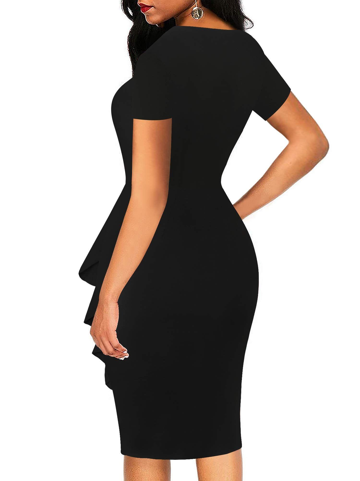 Sakaly Womens Vintage Sleeve Pencil Work Dresses For Women Midi Pencil Dress Dresses [ 2000 x 1500 Pixel ]