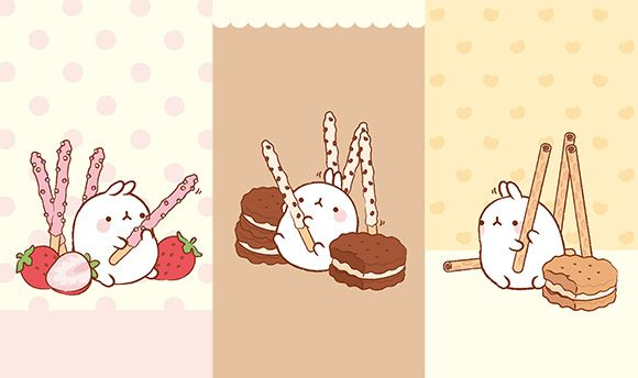 Molang Cute Korean Bunny Iphone Mobile Phone Wallpaper With