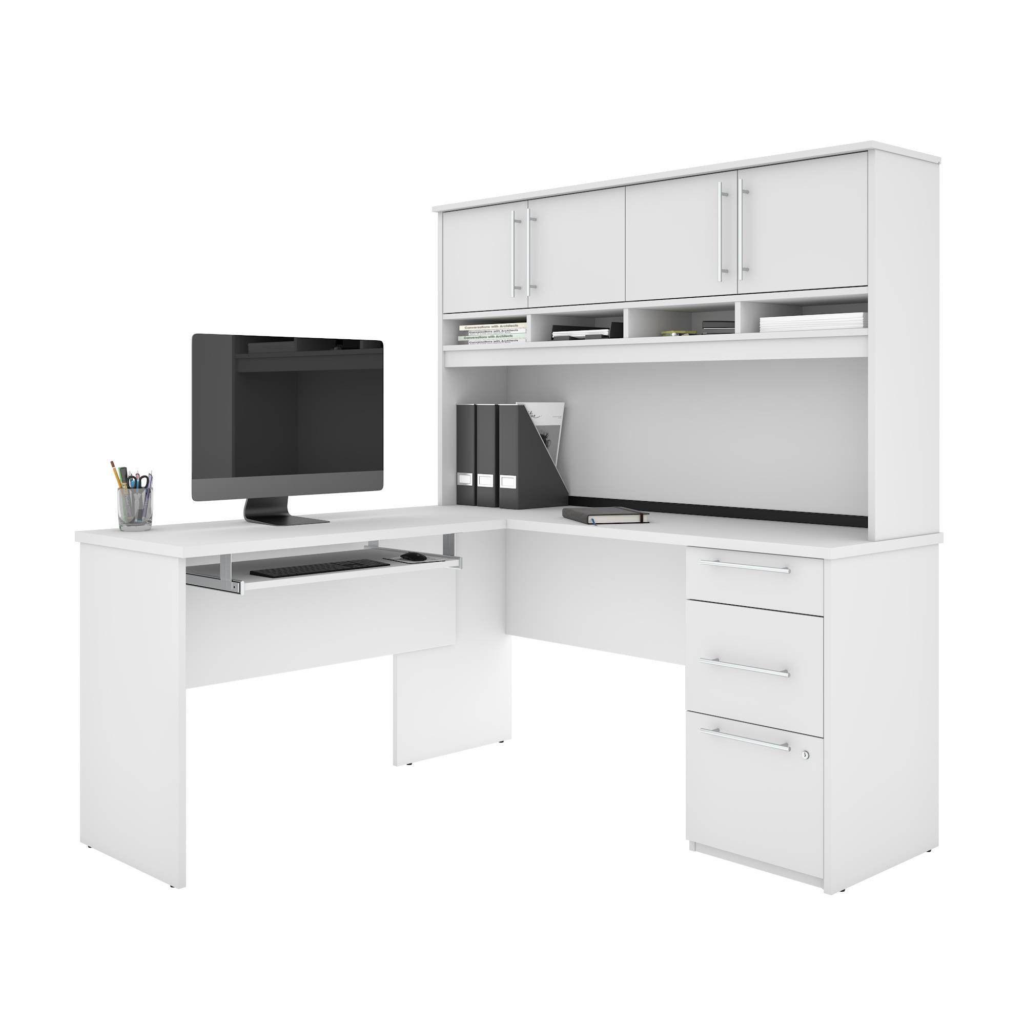 Innova Plus L Shaped Desk White Bestar L Shaped Desk Home Office Furniture White Desks White l shaped desk with hutch