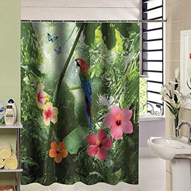 Tropical Parrot Design 3d Shower Curtain With Images Shower