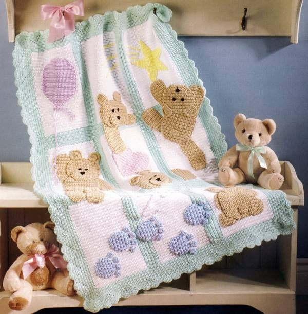7 Adorable Baby Afghan Crochet Patterns Book Blankets Teddy Bear ...
