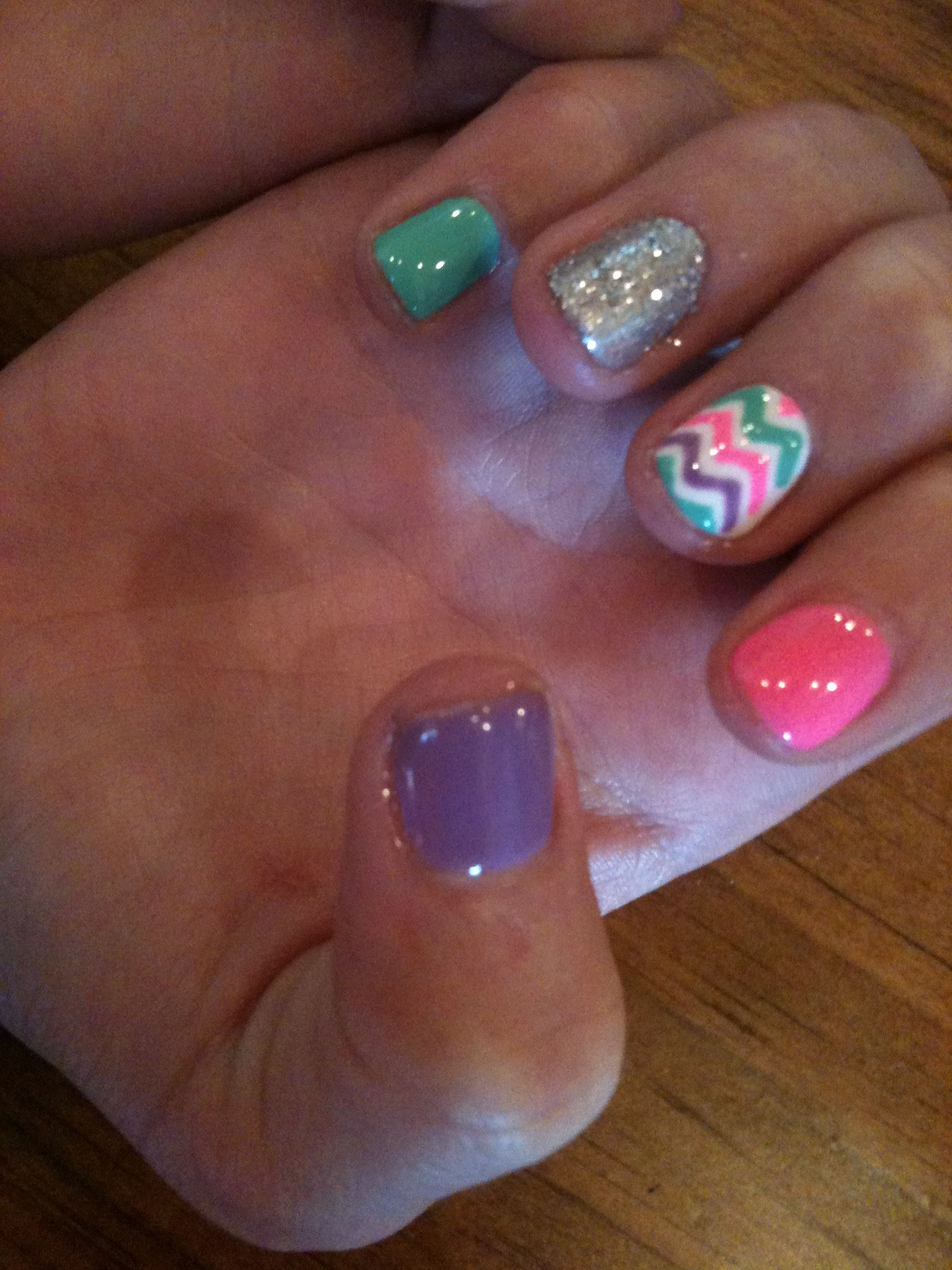 Cute Chevron Nails just wish I could go get them done right now ...