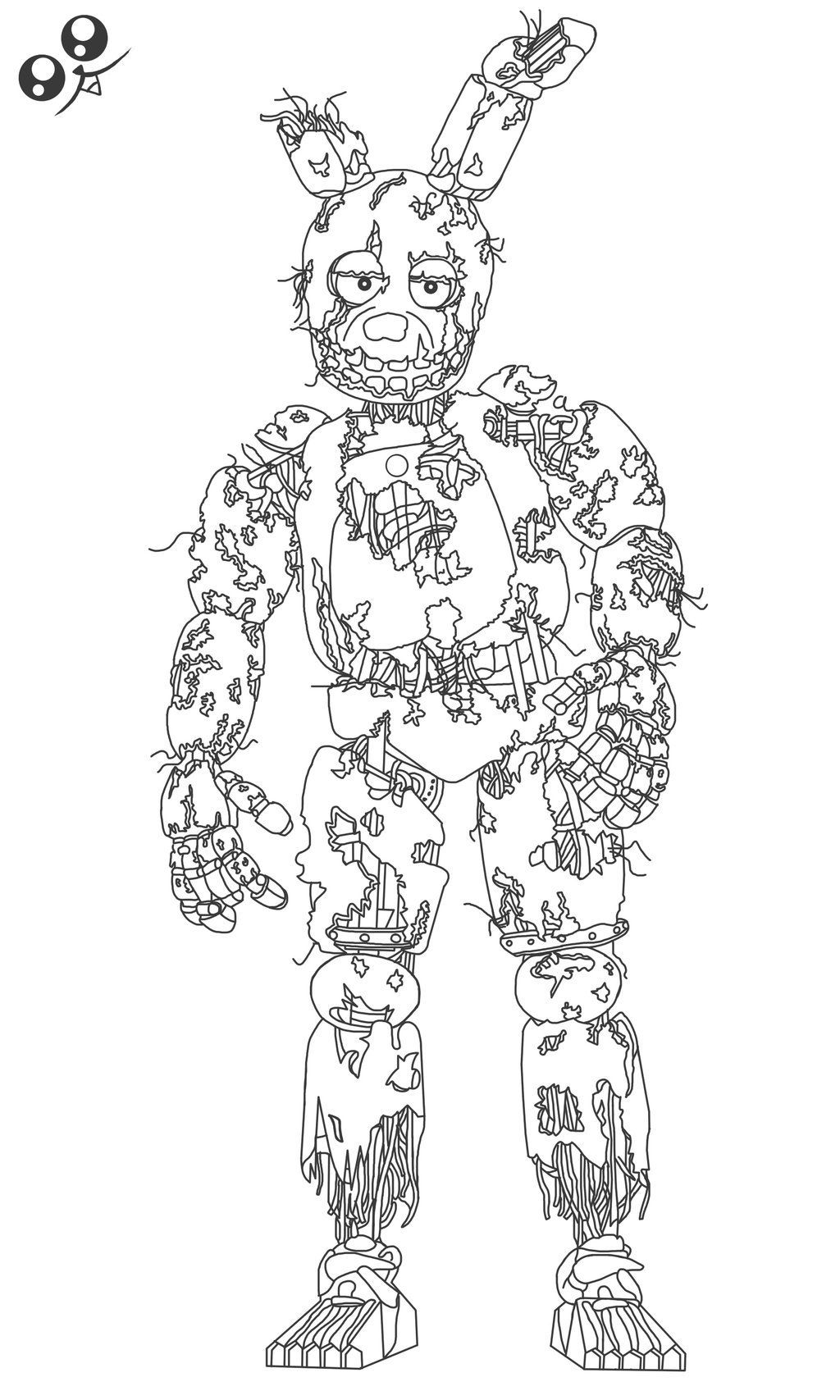 Spring Trap Coloring Page Fnaf Coloring Pages Cartoon Coloring Pages Puppy Coloring Pages