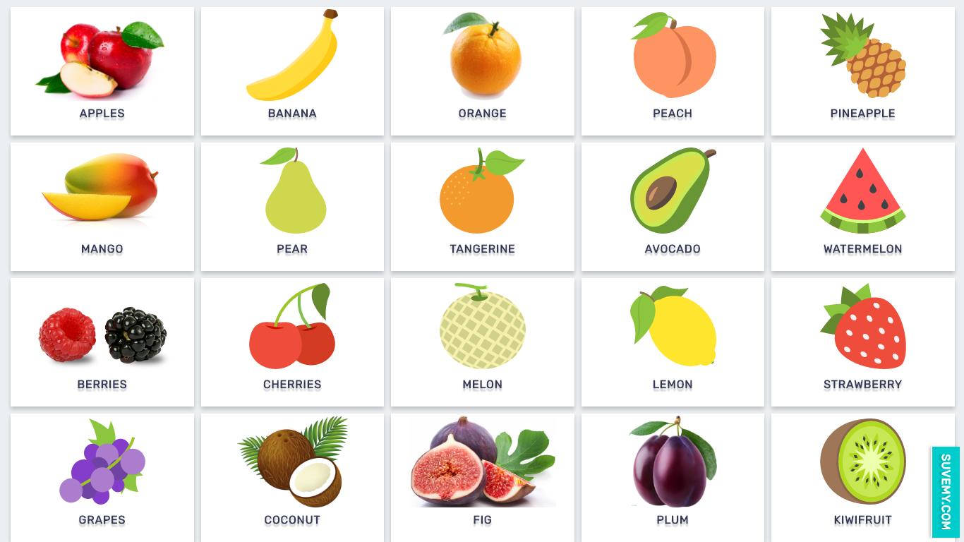 Фрукты и овощи на английском языке в картинках