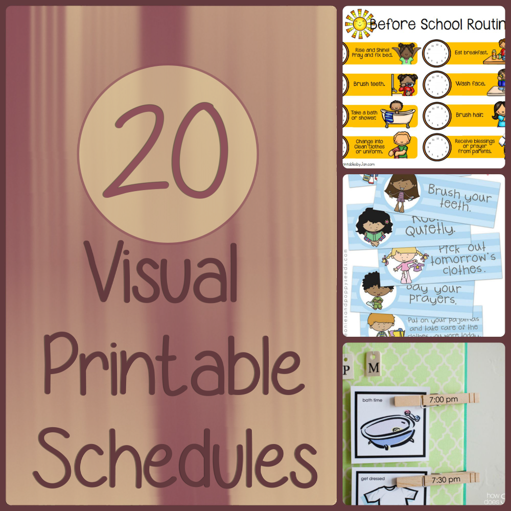 Visual schedules can be a great tool for your child to better communicate and restore order in your home. Here are 23 free, printable visual schedules.