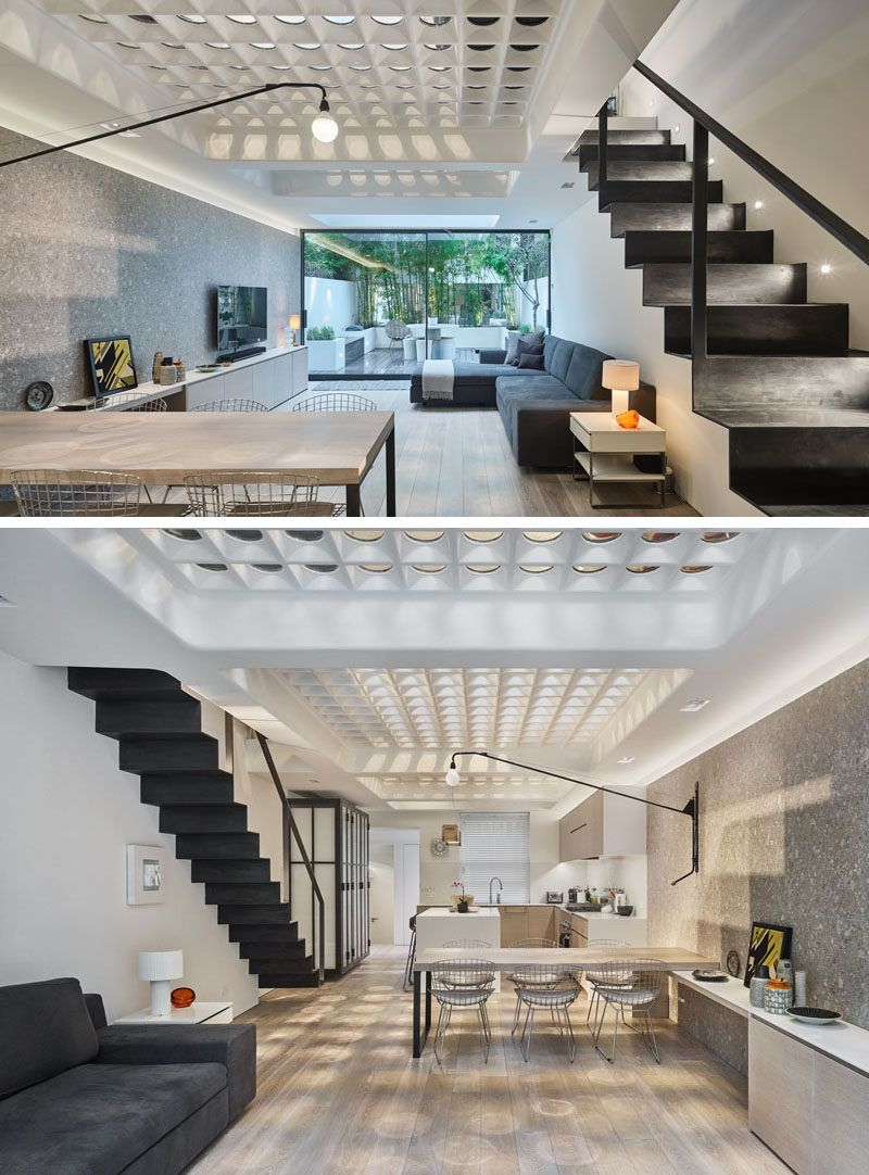 This Modern House In London Has A Unique Floor Made From Pavement Lights That Have Been Re Purposed To Allow Natural Light Fill The Two Levels Of