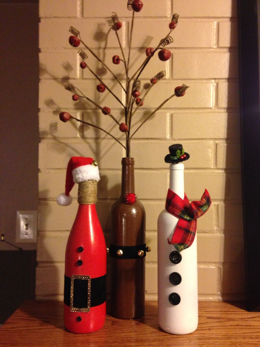 Santa reindeer snowman trio for the holidays made from for Christmas craft ideas with wine bottles