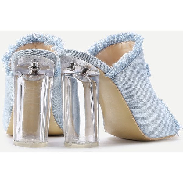 13f2c9d787c3fb SheIn(sheinside) Raw Trim Denim Block Heeled Sandals ( 35) ❤ liked ...