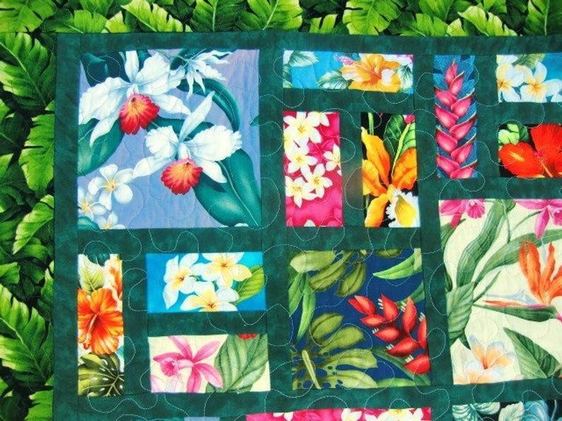 Hawaiian Throw Quilt Scrappy Floral Patchwork Tropical Flowers Etsy Flower Quilt Patterns Hawaiian Fabric Quilt Hawaiian Quilt Patterns