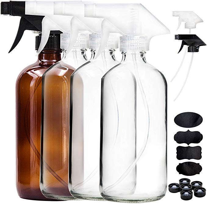 Dii Empty Refillable 16oz Glass Spray Bottles With Chalk Labels 3 Pack Mixing Containers For Essential Oils Blends Variety Colors Clear Amber Cobalt Blu Glass Spray Bottle Spray Bottle Bottle