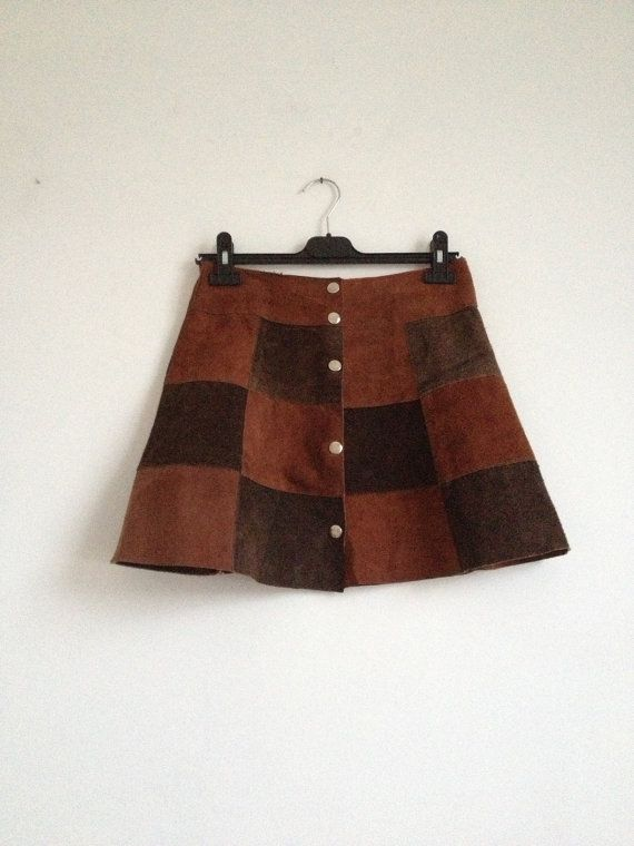 4e55c1f5b5 Vintage 70's Suede Mini-Skirt/ 70's Mini-Skirt/ Brown Suede Mini ...