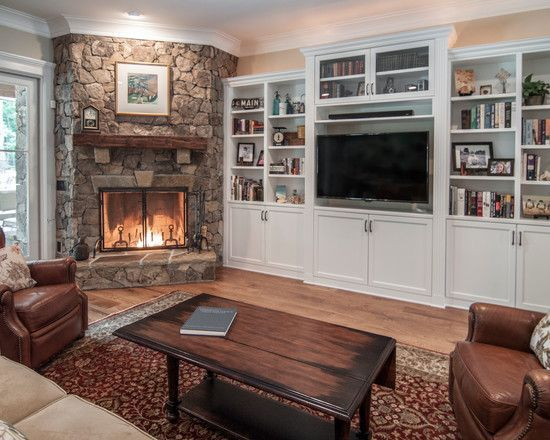 Architecture: Cozy Family Room Rustic Corner Fireplace The ...