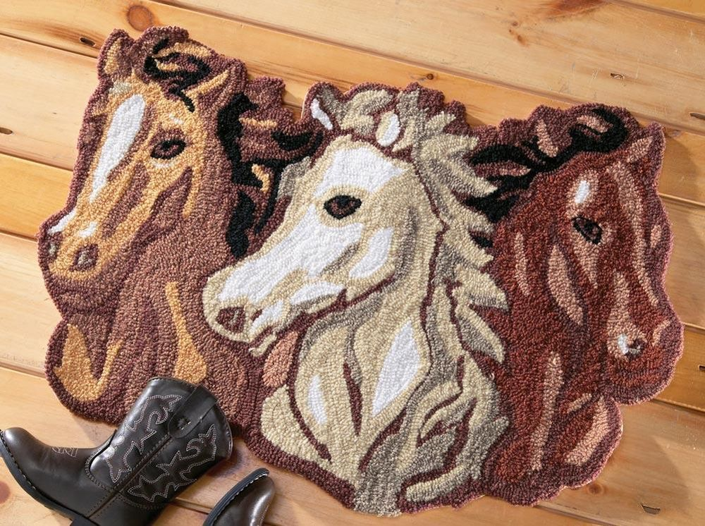 Western Accent Area Rug With Charming Wild Mustang Horses Home Decor New