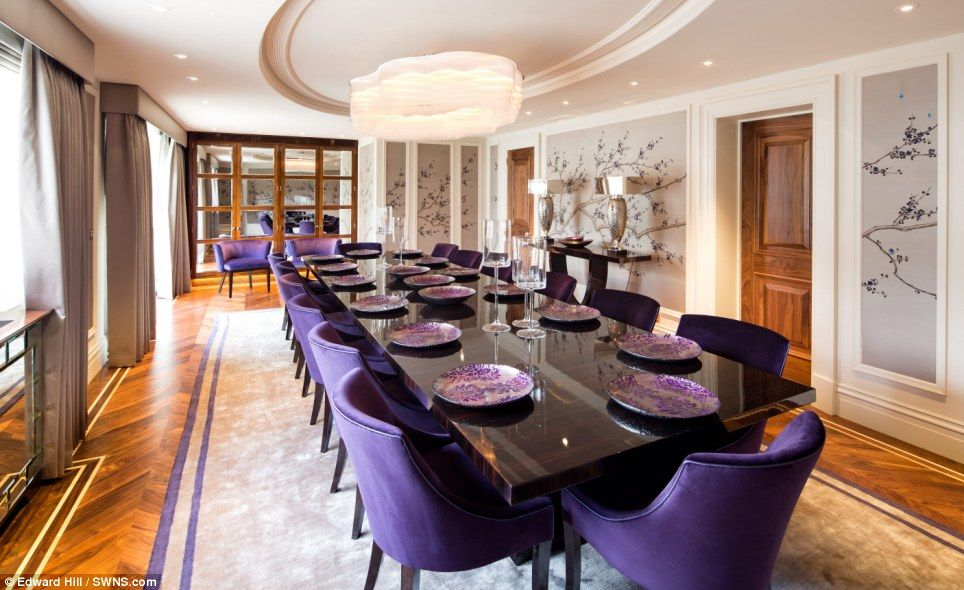 The Dining Table Comfortably Seats 14 And Boasts Polished Wood Parquet Flooring Handpainted Panels A High Spec Lighting System
