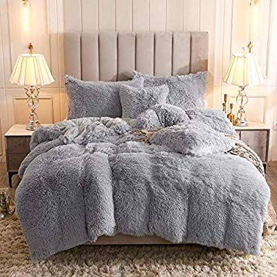 Uhamho Faux Fur Velvet Fluffy Bedding Duvet Cover