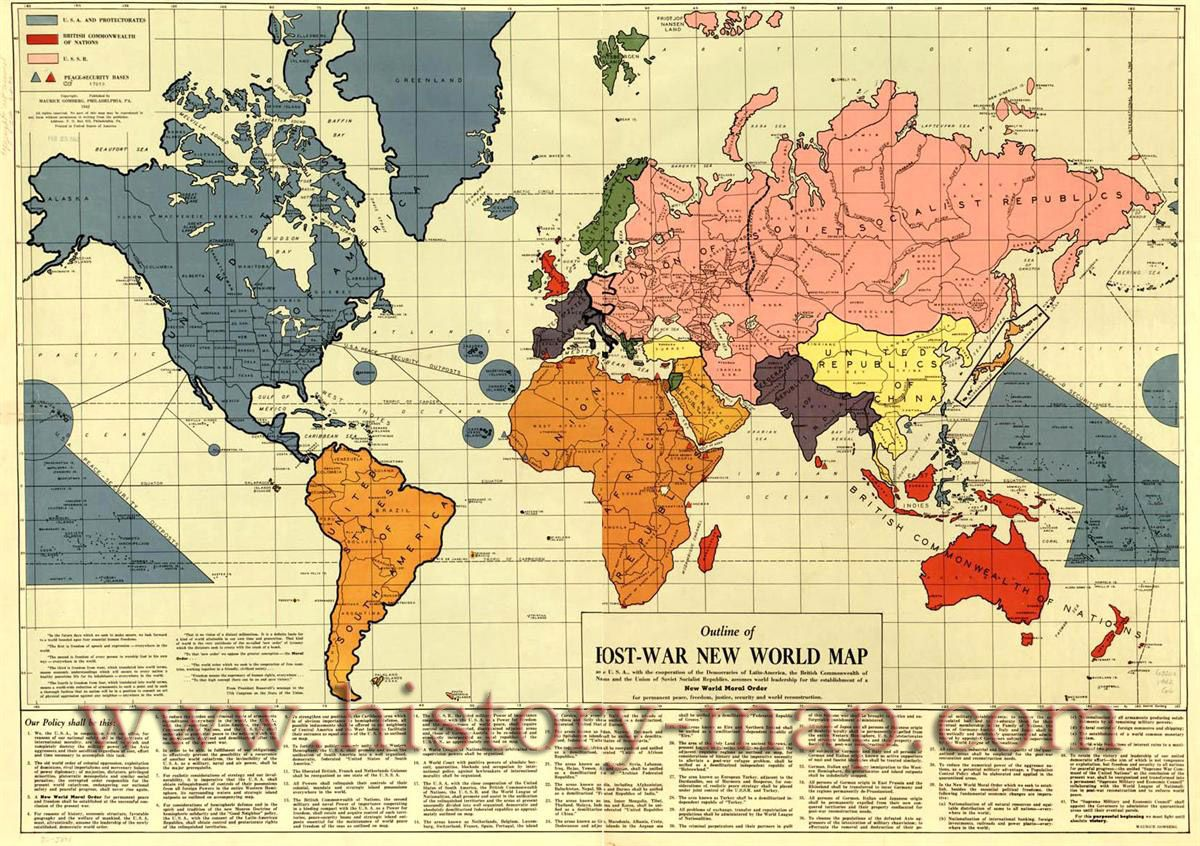 World war ii map book research pinterest infamous map of the post war new world moral order constructed shortly before pearl harbour by maurice gomberg it proposing the establishment of a new gumiabroncs Image collections