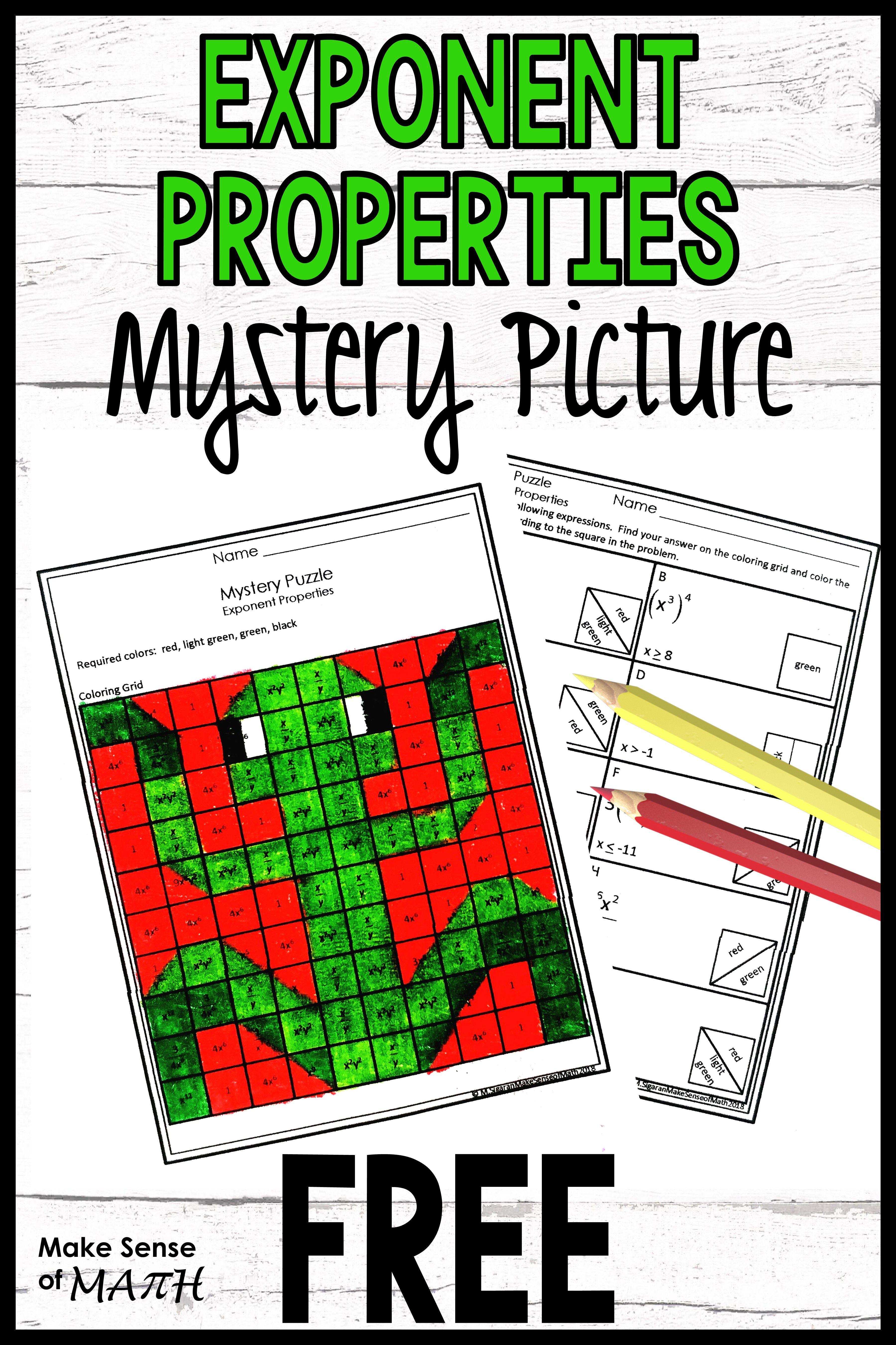 Exponent Properties Activity Free In