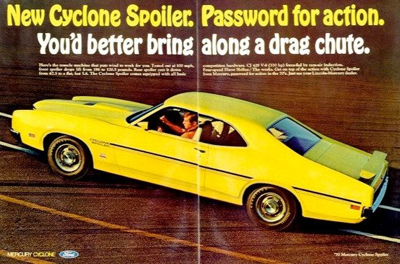 1970 Ford Mercury Cyclone Spoiler 2 Door Coupe Ad Bright Yellow