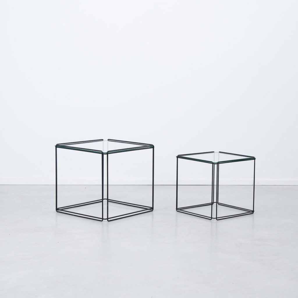 A set of minimalist nest tables by French artist Max Sauze, circa 1968.  Geometric
