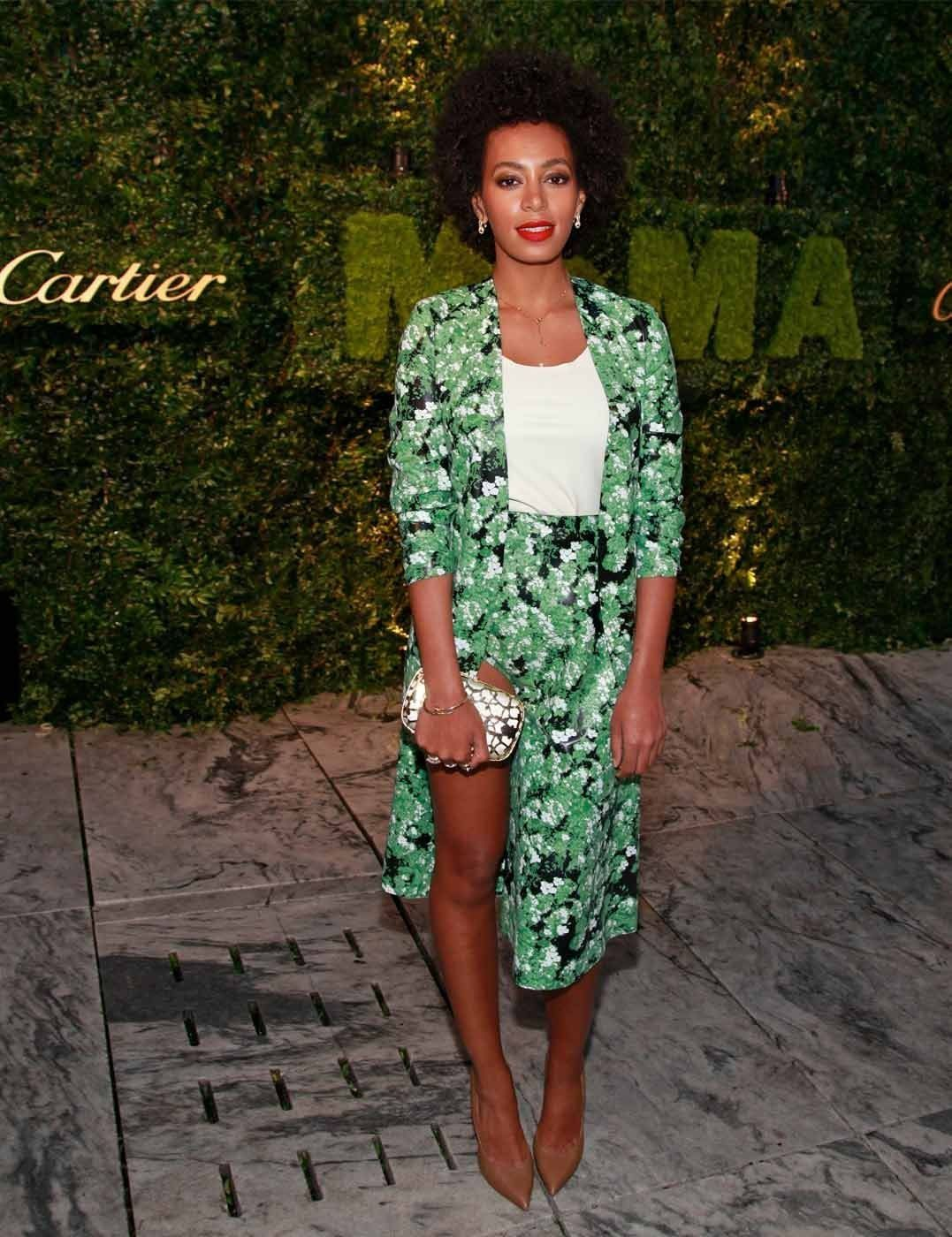 Solange Knowles at the MoMa's Party in the Garden, in a floral Flaminia Saccucci ensemble.