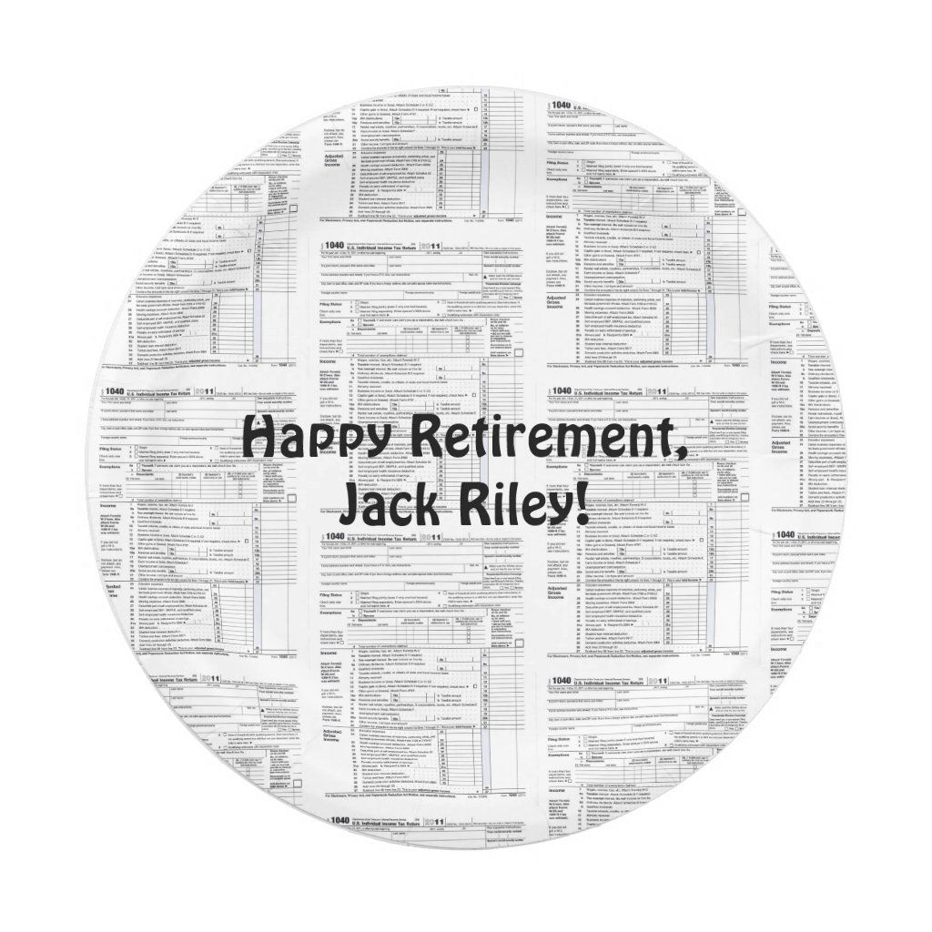 tiled 1040 income tax form for retirement party
