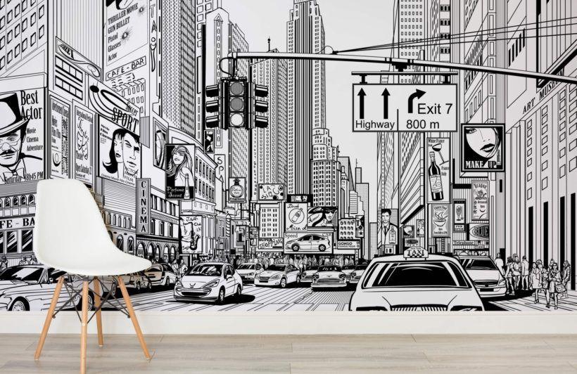 Illustrated Nyc Wallpaper Mural Murals Wallpaper Nyc Murals City Cartoon New York Wallpaper