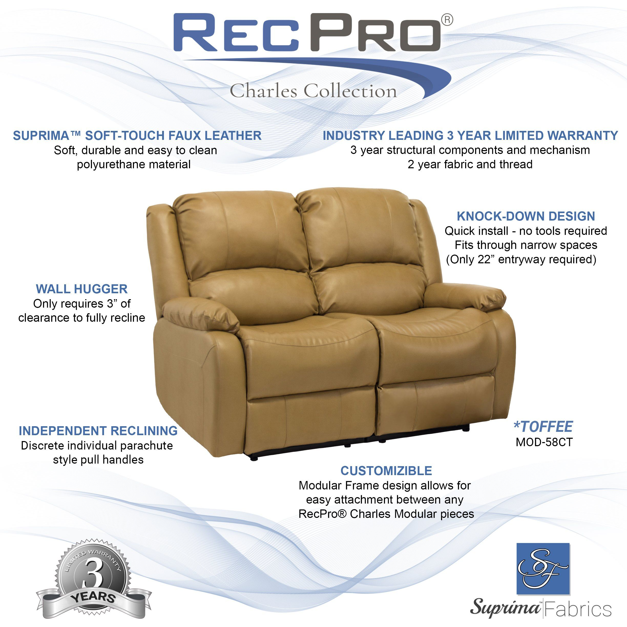 Pleasing Recpro Charles Collection 58 Double Recliner Rv Sofa Rv Zero Gmtry Best Dining Table And Chair Ideas Images Gmtryco