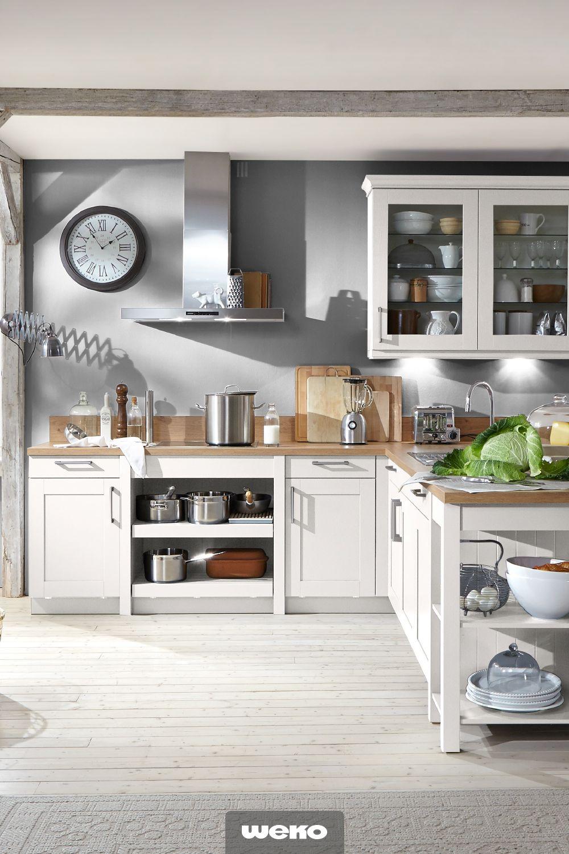 Relativ Stilvolle Landhausküche mit Seidenglanz-Lack in Kristallweiß UB73
