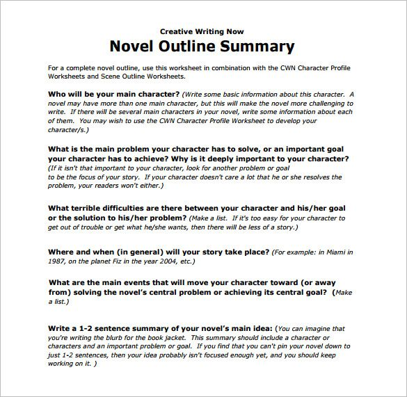 free download novel outline summary template pdf pritable