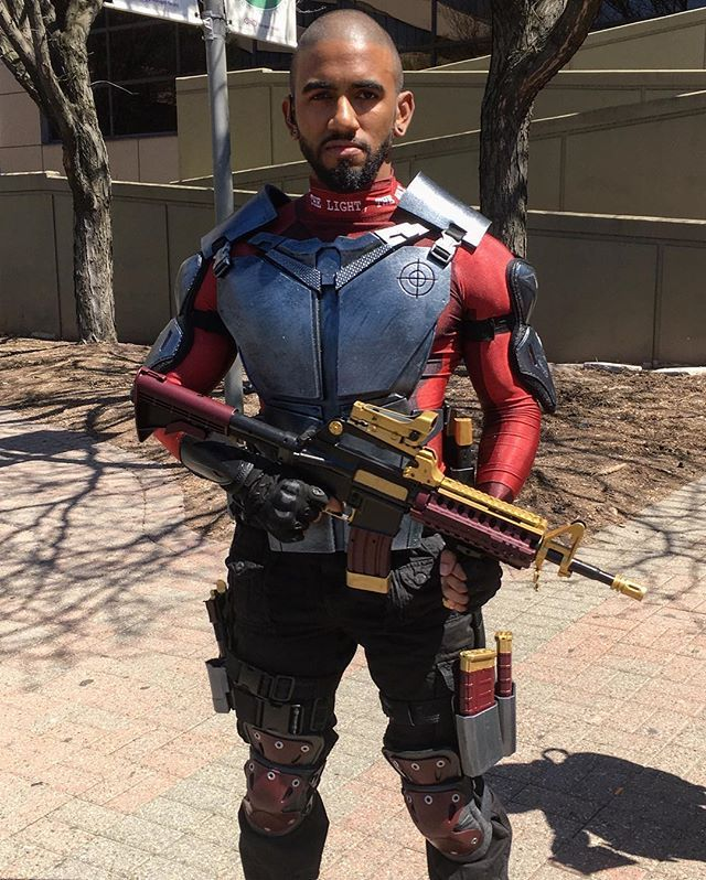 2017 Movie Suicide Squad Deadshot Floyd Lawton Cosplay Costume Outfit with Props