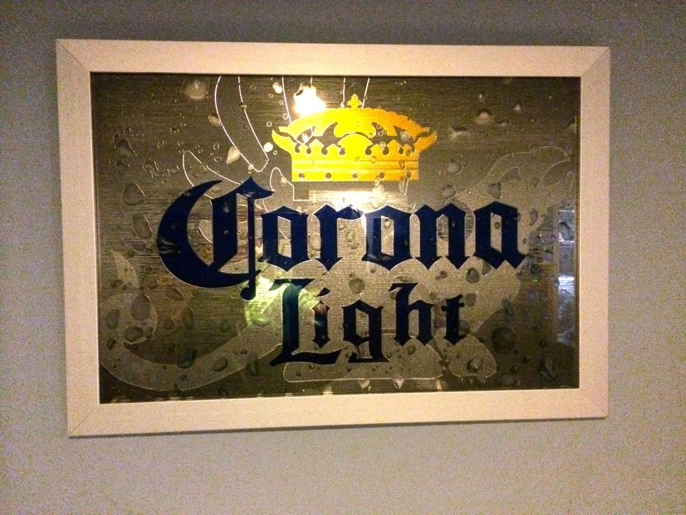 Corona Light Beer Bar Pub Mirror Sign Smoked Glass Crown