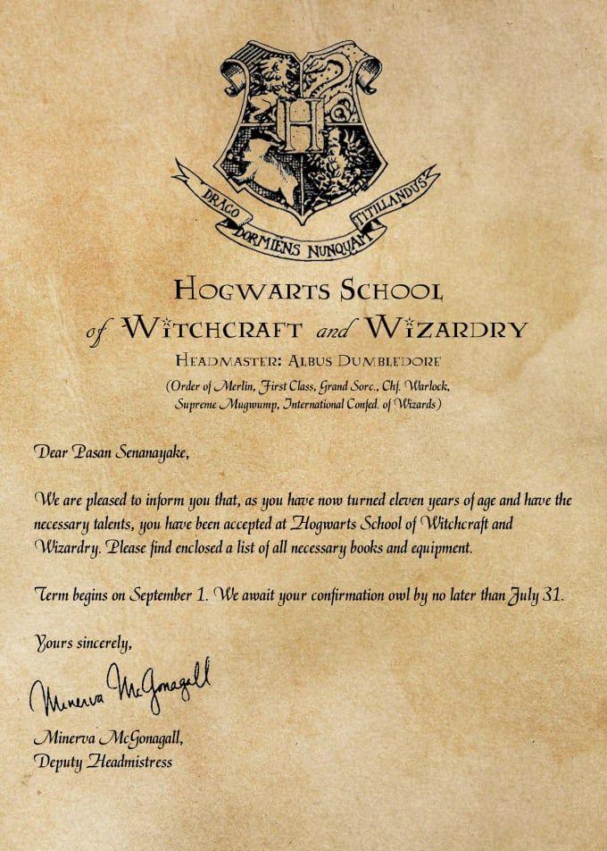 Create Personalized Hogwarts Acceptance Letter Lahja