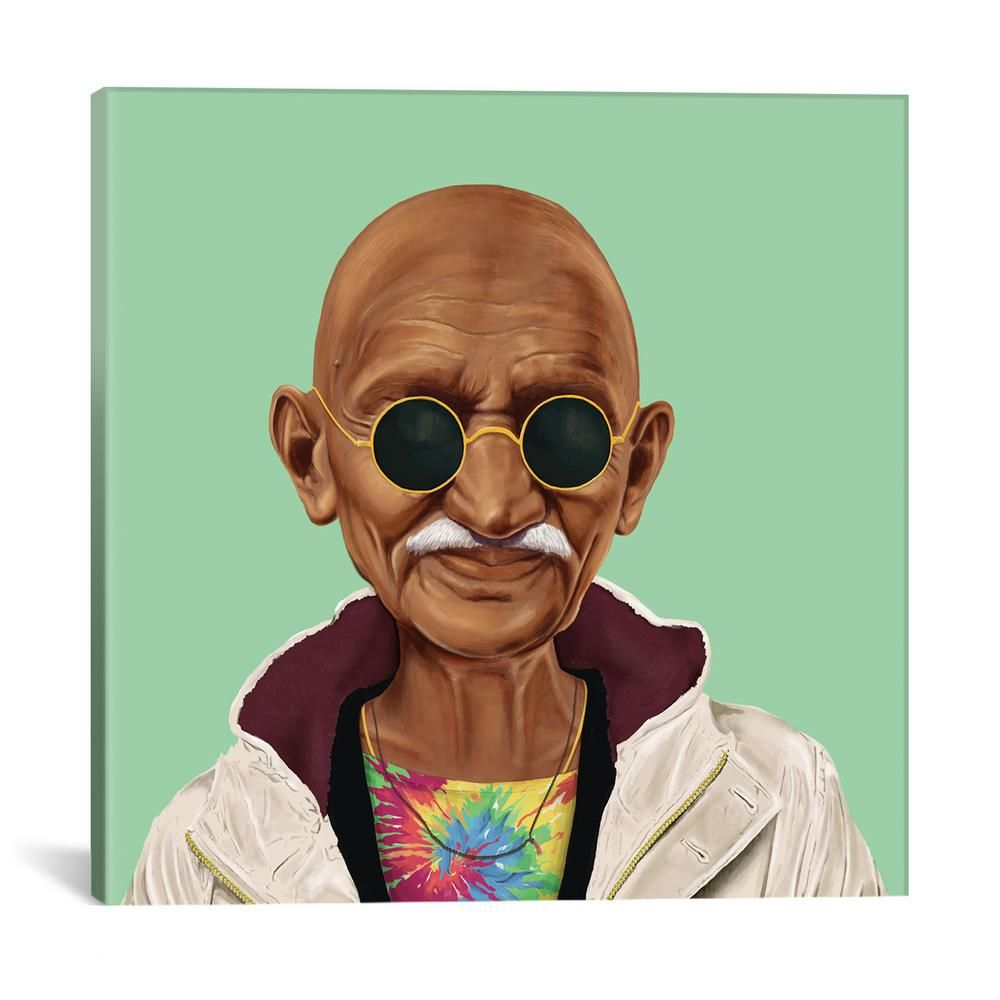"iCanvas ""Mahatma Gandhi"" by Amit Shimoni Canvas Wall Art ASI15-1PC3-12x12 - The Home Depot"