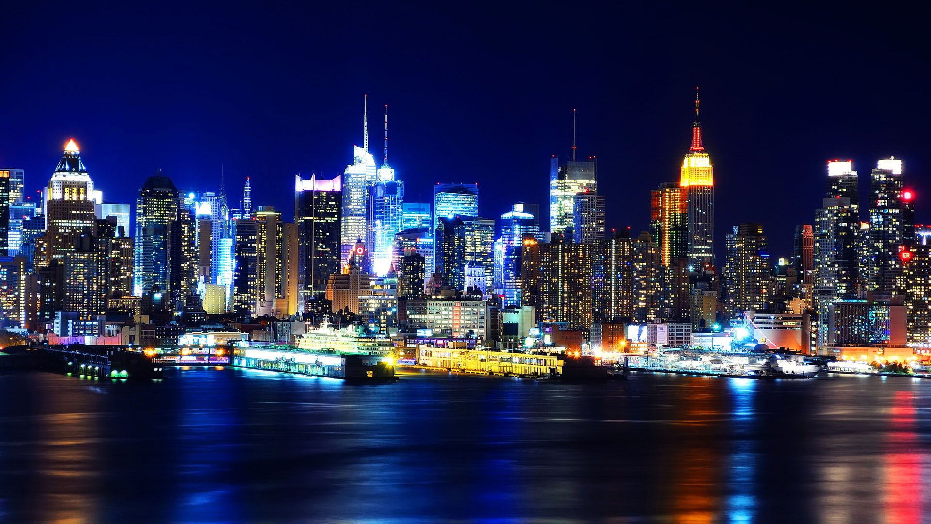 Обои new york, manhatten, ночь. Города foto 12