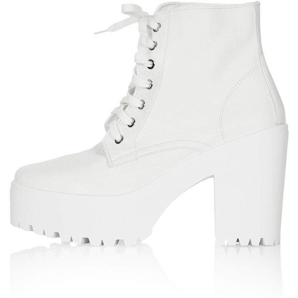 TOPSHOP ACTION Chunky Lace Up Boots (485 HNL) ❤ liked on Polyvore featuring shoes, boots, ankle booties, ankle boots, white, white short boots, chunky lace up booties, chunky booties and lace up ankle boots