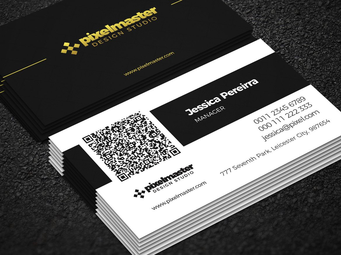 Simple Business Card With Qr Codenisa Toon On Dribbble For Qr Code Business Card Template Qr Code Business Card Simple Business Cards Business Card Branding