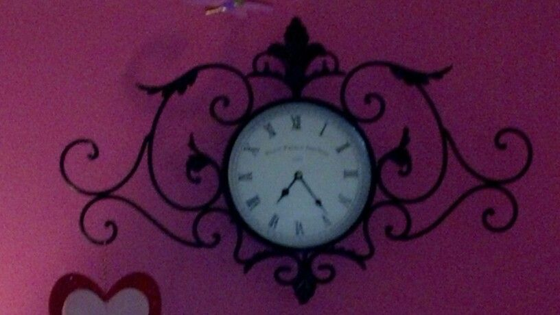 Pink Black And White Little Girl S Room With Wrought Iron Antique Clock Antique Clock Little Girl Rooms Clock