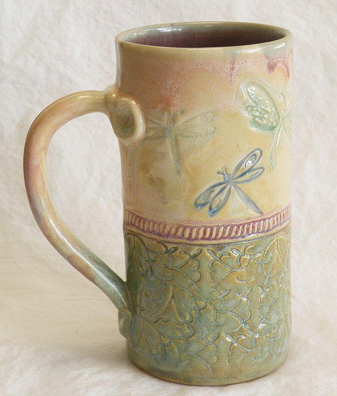 Stoneware 20oz dragonfly coffee mug ceramic 20D067 ...