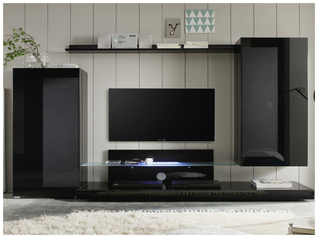 Unique Meuble Tv Noir Avec Led Dengan Gambar