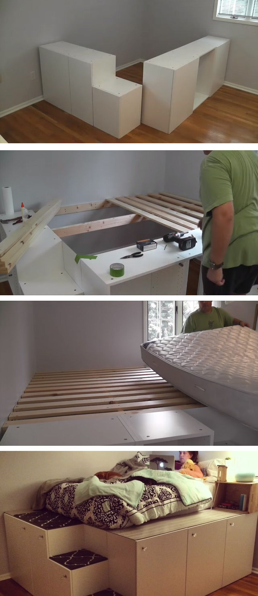 Watch this guy transform IKEA kitchen cabinets into a platform bed with storage  Room ...