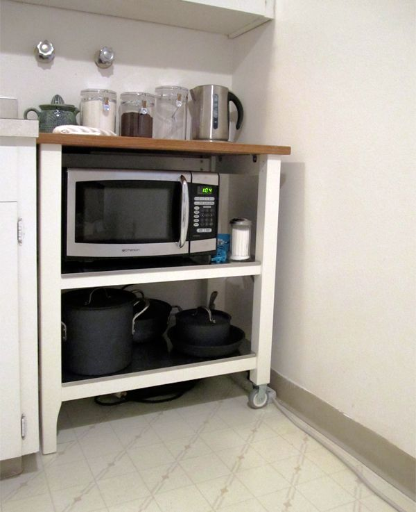 Stenstorp - rice cooker and coffee machine on top. Microwave ...
