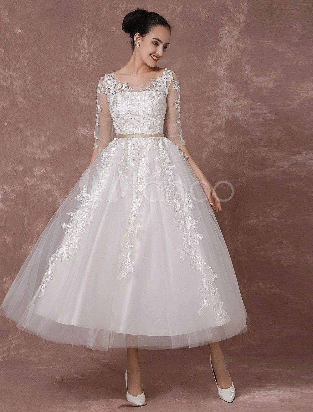 Summer wedding dresses vintage short bridal gown tulle lace